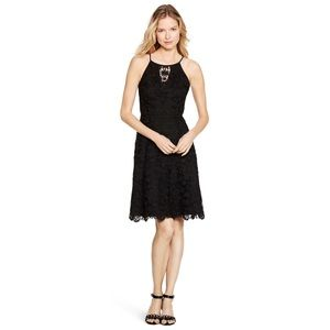 WHBM Sleeveless Lace Black Fit & Flare Dress